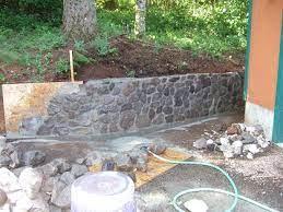 mortared stone retaining wall