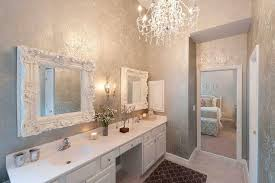 gray damask wallpaper transitional bathroom heather odonovan 740x492