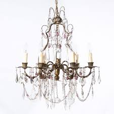 6 arm 1960 s italian brass chandelier with clear and aubergine drops