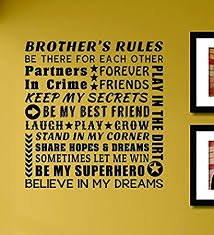 brothers rules be there for each other partners forever vinyl wall decals quotes on brothers wall art quotes with amazon brothers rules be there for each other partners forever
