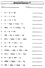 worksheet writing and balancing chemical equations