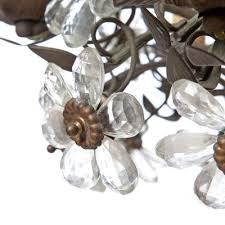 vintage six light bronze crystal flower chandelier from maison baguès 3