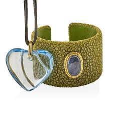 baccarat crystal heart pendant stingray leather cuff by rago 808945 bidsquare