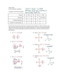 Lewis Structure Worksheets With Answers Chem 1020 Lewis Structures Worksheet Complete In The