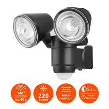 link2home link2home 220 lumen outdoor battery powered motion sensor led safety security adjule dual head