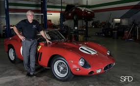 1962 ferrari 250 gto interior. rich doucette stands alongside the 1962 ferrari 250 gto gto interior