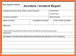 Workplace Incident Report Form Template Accident Report Form