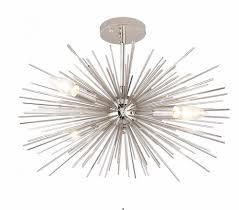 polished nickel sputnik fixture modern glam flush mount