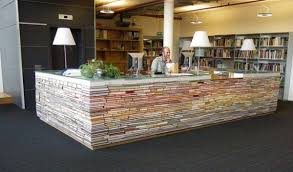 Book desk. Appropriately enough, this one functions as the information desk  for TU Delft architecture bibliotheek. [via Boing Boing]