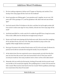 awesome the single step addition word problems using two digit numbers a one step equations addition