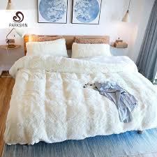 parkshin white cloud mink velvet bedding set elegant duvet cover duvet cover king size white duvet