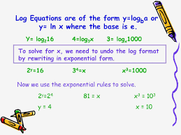 section 12 ln x 6 in exponential form solving logarithmic equations