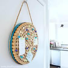 completed wine cork board hanging on utility door