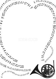 おしゃれな白黒モノクロの音符フレーム枠の無料イラスト縦の