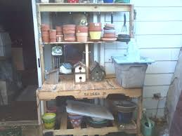picture of simple potting bench from pallets