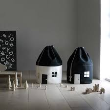 Black & White <b>Canvas House</b> Toy <b>Storage</b> Bag