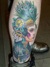 Colorful Native Gypsy Tattoo On Right Leg