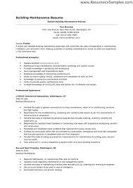Building Maintenance Resume Examples Best of Resume Sample Infoe Link