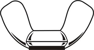 nut clipart black and white. wing nut - stamped \u0026 cold forged clipart black and white
