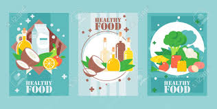 Design A Poster On The Topic Of Healthy Food Healthy Food Banners Vector Illustration Flat Style Design