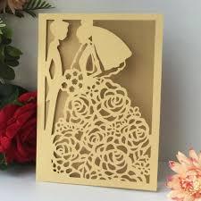Us 23 49 13 Off 50pcs Laser Cut Bridal Bridalgroom Pattern Chic Design Wedding Invitation Card Birthday Invitaiton Card Best Wishes Blessing In