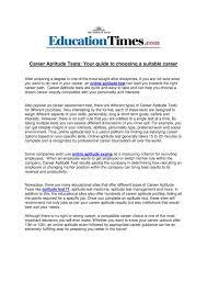 Career Aptitude Test Calaméo Career Aptitude Tests Your Guide To Choosing A Suitable 18