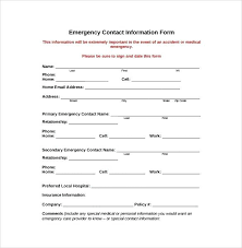 Employee Emergency Contact Information Template Sample Employee Emergency Contact Form 7 Examples In Word