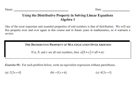 extra practice for students in using the distributive property to simplify expressions and solve equations