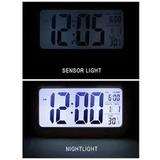 large display lcd digital alarm clock with automatic light sensor
