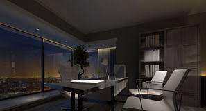 luxurious home office. Spacious Luxury Home Office Interior At Night Stock Photo Luxurious S