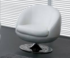 Leather Swivel Chairs For Living Room White Leather Swivel Chair With Back And Oval Silver Steel Base