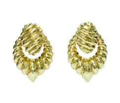 henry dunay 18k hammered gold estate door knocker earrings