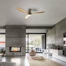 Stem Dc Plafondventilator Led Lamp Licht Hout
