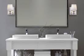 above mirror lighting modern bathroom wall sconces with double raised sink bathroom vanity under framed mirror above mirror bathroom lighting
