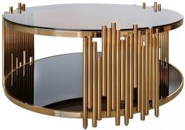 burgio rose gold metal and glass round coffee table