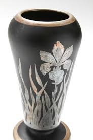 art deco silver overlay iris black glass vase attributed to rockwell detail