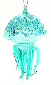 Details Zu A061 Glass Jellyfish Sky Blue With Sparkles Christmas Tree Ornament Decoration