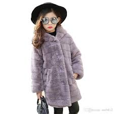 2017 baby girl winter warm faux fur coat kids cute hooded thick jackets school winter warm solid color fashion long outerwear girls down parka kids down