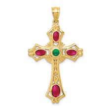 14k ruby emerald cabochon cross pendant weight 3 6 length 44 width 25