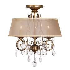 3 light antique gold flushmount chandelier