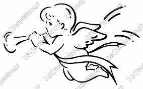 ラッパを吹く天使 クリップアート年賀状戌年の年賀状イラスト