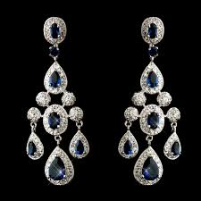 antique silver cz crystal sapphire chandelier bridal earrings