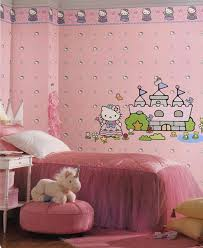 Unique Wall Borders for Bedrooms with Cute Styles : Eye Catching Hello  Kitty Wallpaper Combined With