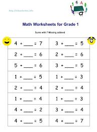 Math Worksheets Number Patterns Worksheets Grade One Math Worksheets ...