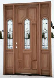 custom wood door with sidelights and fiberglass insert for rustic modern house design ideas