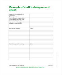 training record template 12 training sheet templates free sample example format