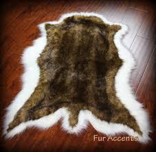 brown white tail deer skin pelt rug faux fur fake sheepskin bear skin throw