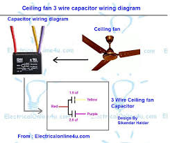 ceiling fan 3 wire capacitor wiring