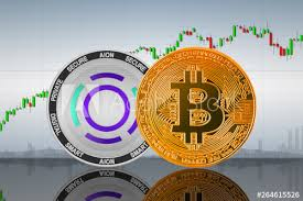 Bitcoin Btc And Aion Coins On The Background Of The Chart