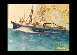 Paintings On Nautical Charts Royal Quarry Longline Fishing Boat Cathy Peek Nautical Chart Greeting Card